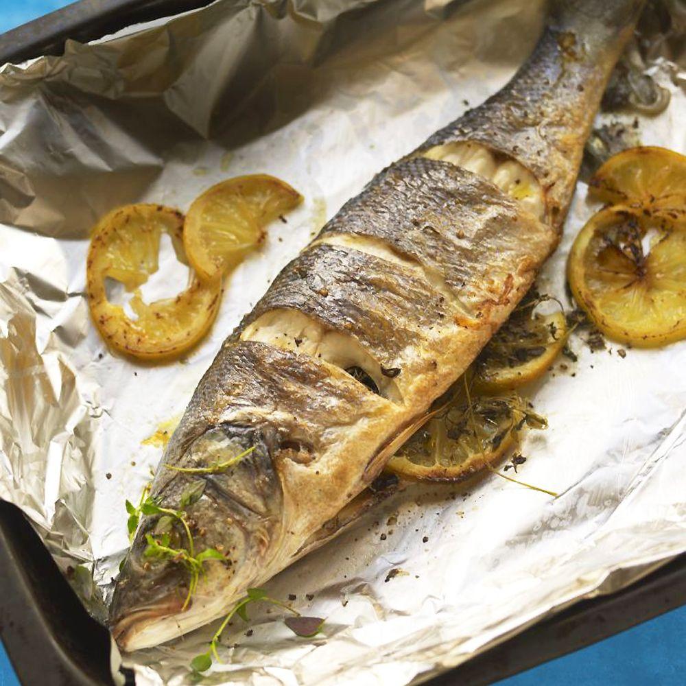 Whole roasted sea bass