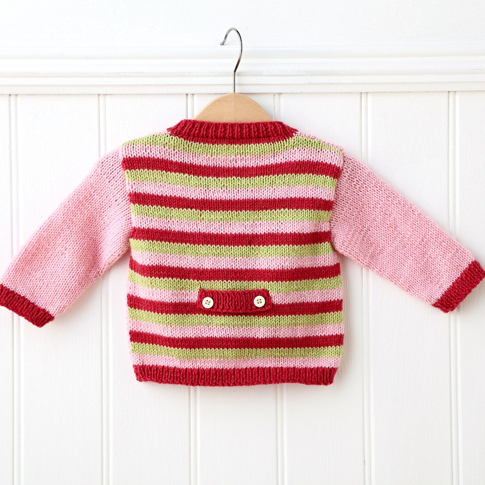 Knit a cute baby cardigan with our free knitting pattern