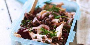 Salmon lentil salad