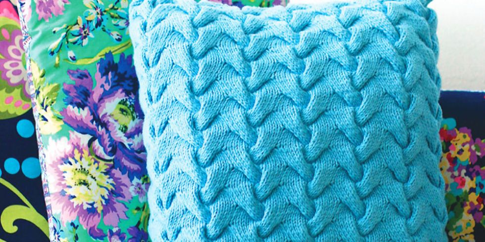 Book Cover Knitting Pattern Free : Update a sofa with funky cable cushion knitting pattern