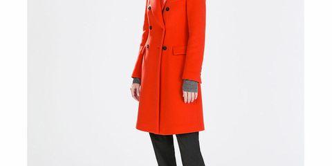 Zara red wool coat