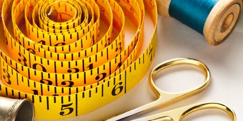 Tape measure, threads, scissors, thimble