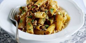 Sausage pasta with walnuts