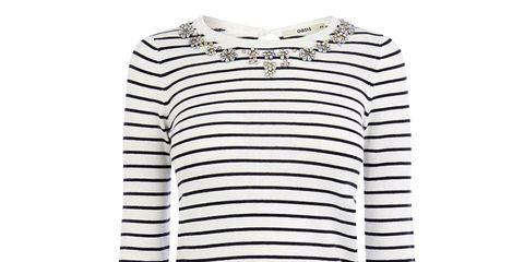 Oasis stripy embellished neckline jumper