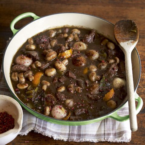 Beef casserole with baby onion and orange
