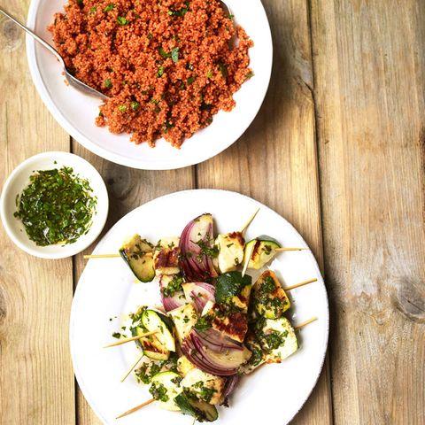 Halloumi and couscous salad