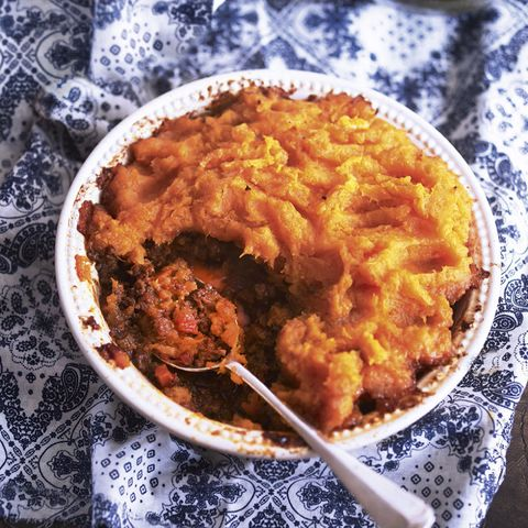 Shepherd's pie with a sweet potato topping