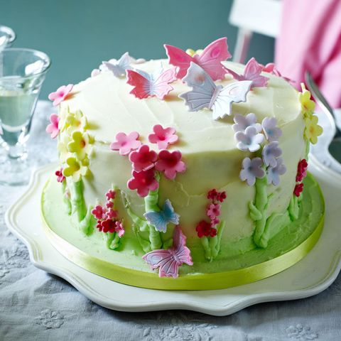 Blossom and butterfly cake