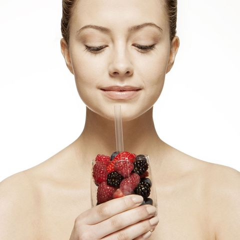 Woman with healthy drink