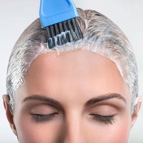 Woman home hair colour
