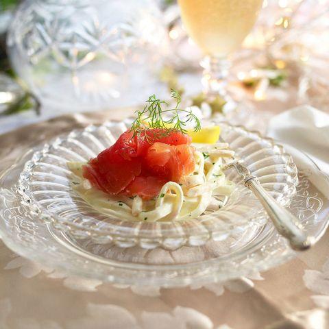 Celeriac starter with smoked-salmon