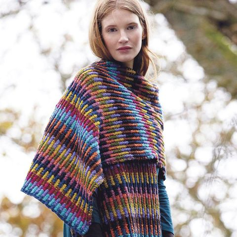 Embrace The Blanket Trend With This Wrap To Knit