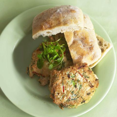 Chicken burgers in roll with watercress