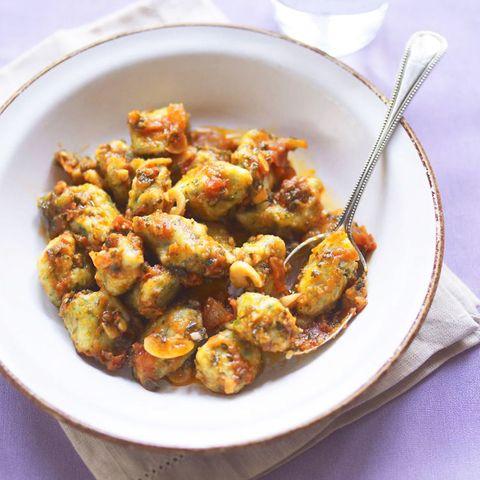 Spinach Gnocchi With Tomato, Chilli And Garlic Sauce
