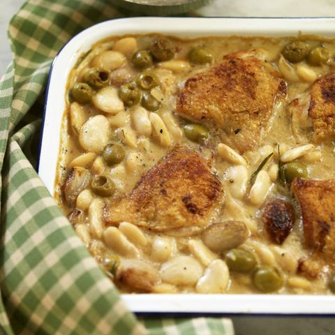 Chicken casserole with butter beans and olives