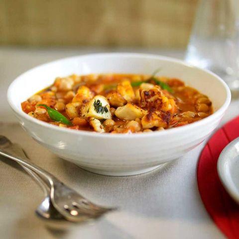Chickpea halloumi stew