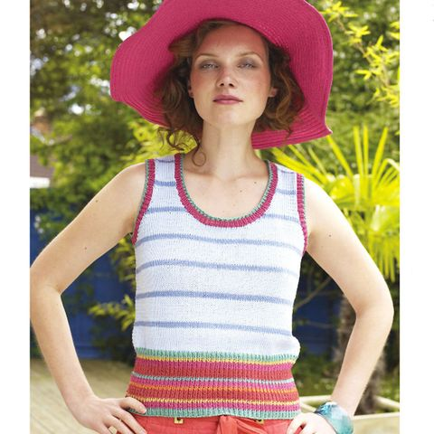 881bb85953a5fd Knit This 1970s-Style Stripy Vest Top. Stay cool this summer ...