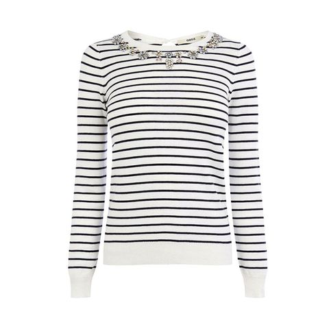 Oasis Colour Embellished Striped Top