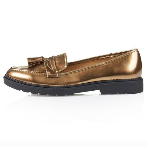 Topshop gold max loafers