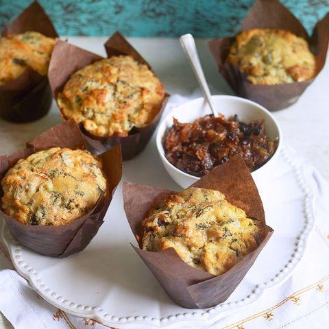 Turkey stilton and cranberry muffins
