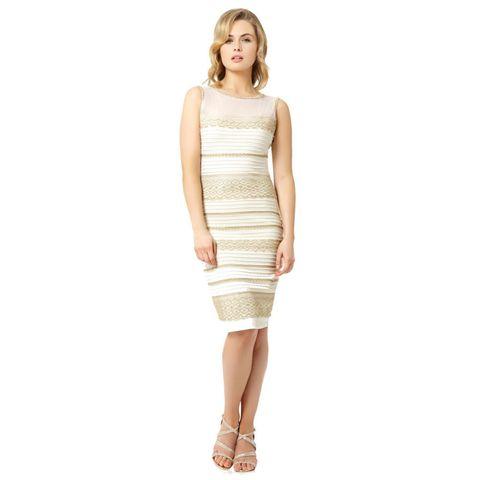 Roman Originals 'The Dress' Lace Bodycon dress in gold and cream