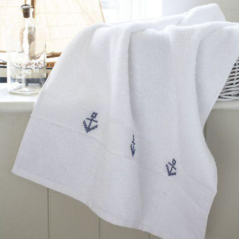 Cross stitch anchors towel