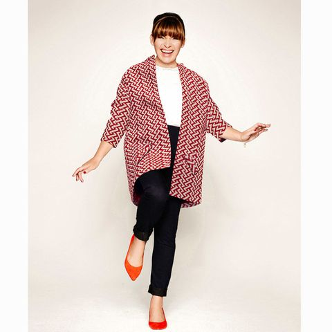 JD Williams red and white print coat