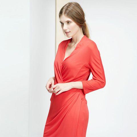 Mango draped red dress
