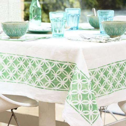 Stencilled tablecloth to make