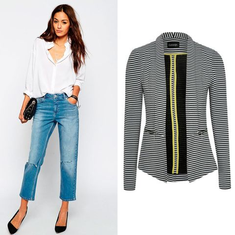 Asos Thea girlfriend jeans and George at Asda stripe blazer