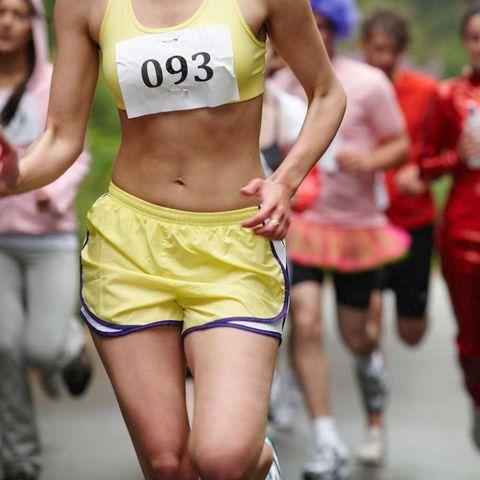 Woman running marathon