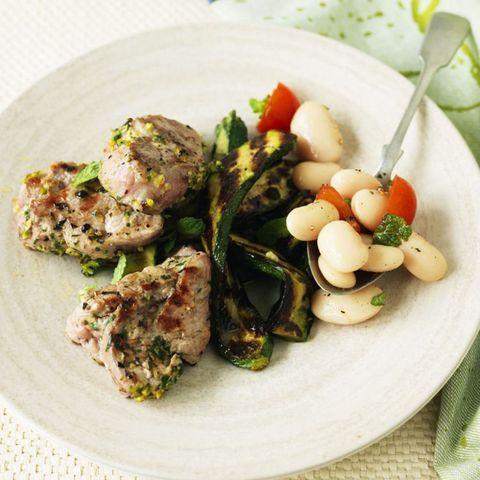 Pork tenderloin butterbeans courgettes