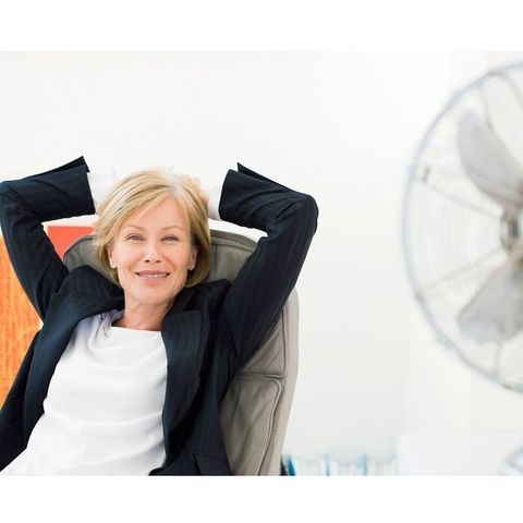 Woman with electric fan