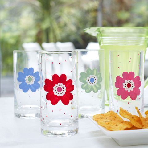 Personalised glasses with painted flowers