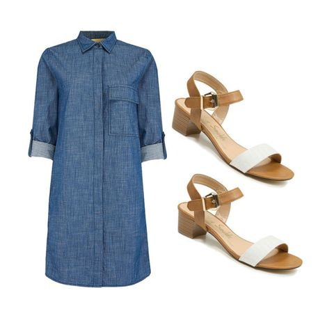 Atterley Road denim shirtdress and George at Asda block heel sandals