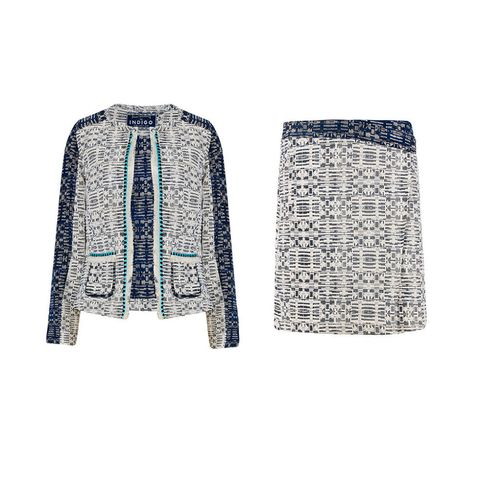 Lulu Kennedy for M&S Indigo Collection fringe trim jacquard blazer and skirt