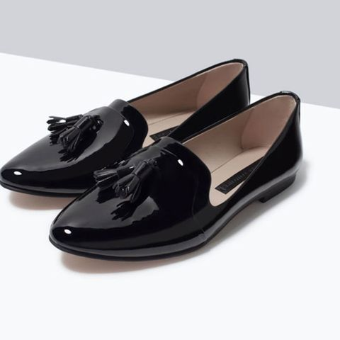 Zara black patent slippers