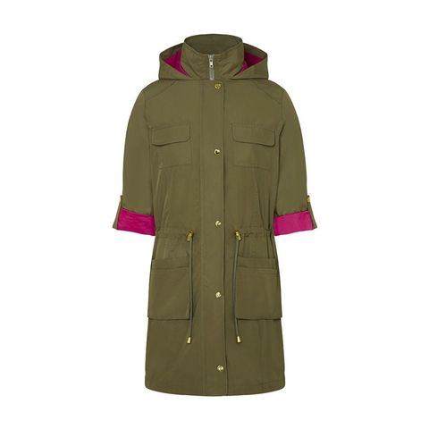 JD Williams green and pink collar contrast parka