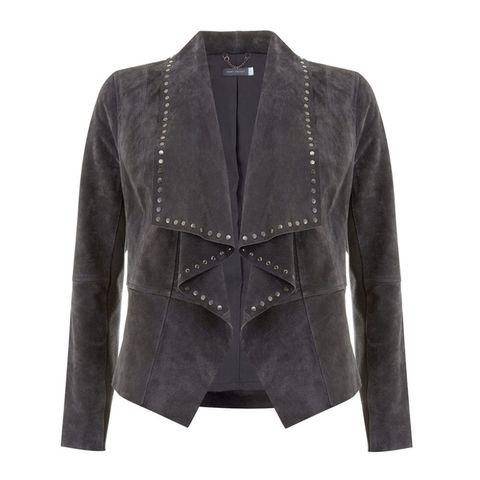 Mint Velvet grey suede waterfall jacket