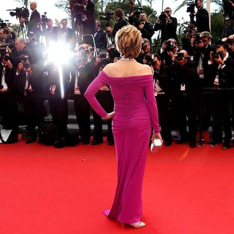 Actress Jane Fonda's back