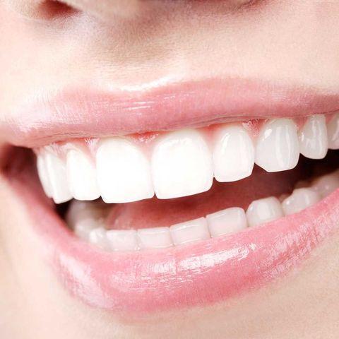 Woman white teeth