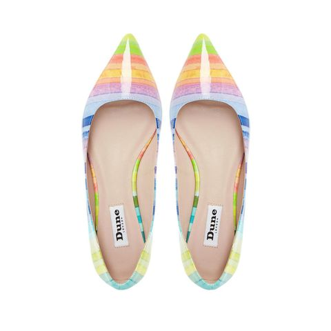 Dune Birdie Candy striped pointed toe flat shoes