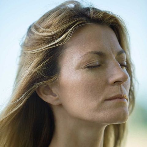 Woman deep breathing