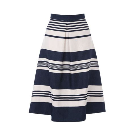 Oasis block stripe flared midi skirt