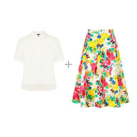 Warehouse fabric mix polo top and John Lewis painterly floral full skirt