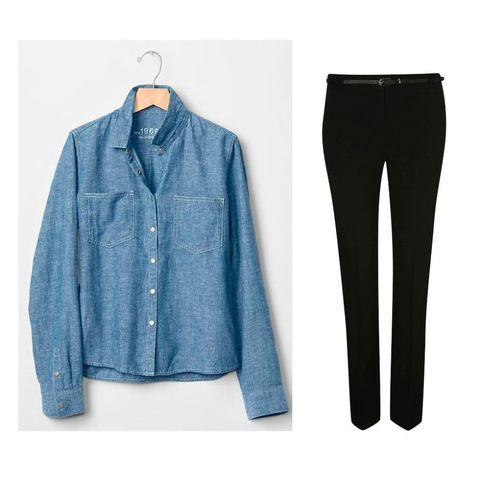 Gap chambray denim shirt and George at Asda slim leg black trousers