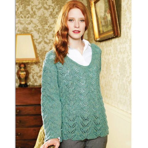 Try This Fine Textured Knit Lace Sweater Knitting Pattern