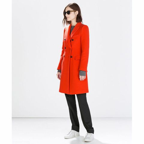 Zara red wool coat