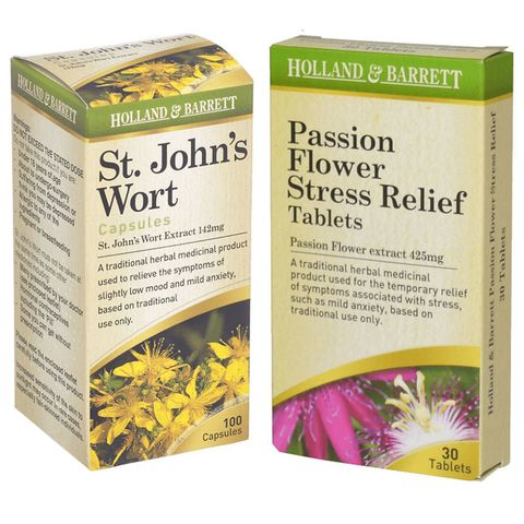 Holland & Barrett St John's Wort and Passion Flower Stress Relief remedies