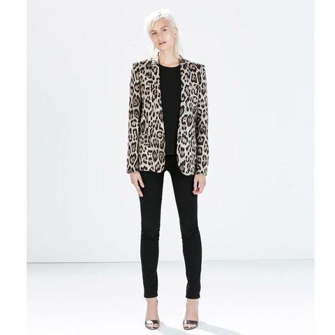Zara straight cut leopard print blazer